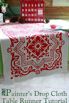 holiday stenciled table runner using drop cloth royal studio design, crafts, painting, seasonal holiday decor, Holiday table runner using painter s drop cloth and Royal Studio Design Lisboa stencil