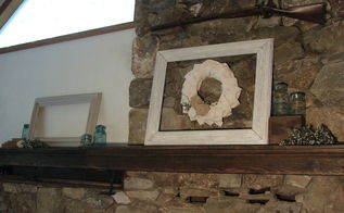 my summer 2012 mantel, seasonal holiday d cor, wreaths, Our mantel is quite long It has the firebox on one side and a dumbwaiter on the other to send up the wood