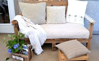 make an outdoor pallet sofa that s comfy and cute, home decor, outdoor furniture, outdoor living, painted furniture, pallet, patio, This little sofa is the perfect size for our smaller covered patio The oversized cushion from a futon sofa was wrapped with a painter s drop cloth making clean up an absolute breeze