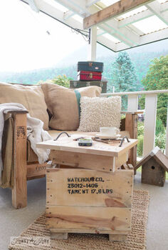 the little crate that morphed into a table with 2 secrets, outdoor furniture, outdoor living, painted furniture, pallet, repurposing upcycling, woodworking projects