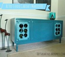 retro stereo cabinet transformation, kitchen cabinets, painted furniture, repurposing upcycling, Finished