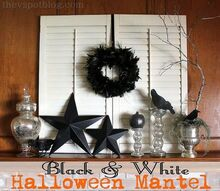 a simple black white halloween mantel, halloween decorations, seasonal holiday d cor, Black White Halloween mantel