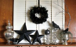 a simple black white halloween mantel, halloween decorations, seasonal holiday d cor, Black White Halloween mantel