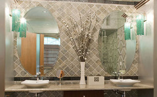 modern master bathroom, bathroom ideas, home decor, This modern bathroom features designer s bathroom tile designs It is all about artful manipulation of inexpensive materials including natural stone glass and metal tiles The style is modern classic where there is little distinction
