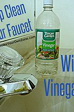 get rid of mineral deposits on your faucet with vinegar, bathroom ideas, cleaning tips, kitchen design, Vinegar is a great homemade solution to deep clean a faucet