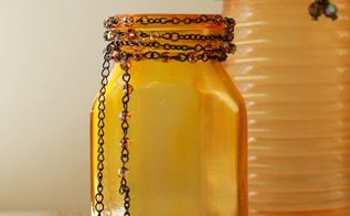 beautiful faux amber glass, crafts, decoupage, seasonal holiday decor, Once your jars are completely dry use beads or jewelry to accent your jars