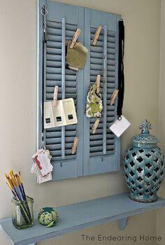 wood shutter shelf organization station, organizing, repurposing upcycling