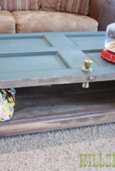 reclaimed door coffee table, doors, painted furniture, repurposing upcycling, woodworking projects, Salvaged Door Coffee Table