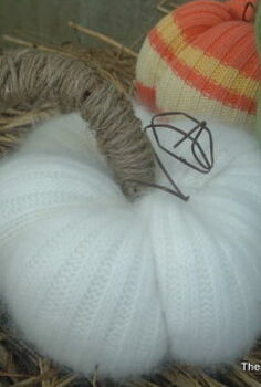 no sew sweater pumpkins, crafts, My personal fave is this little fuzzy white one