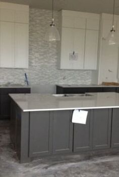 white and gray kitchen, countertops, kitchen design, kitchen island