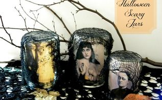 glow in the dark scary jars, crafts, halloween decorations, seasonal holiday decor, Use vintage portraits inside of jars for a creepy effect
