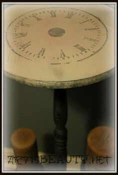dumpster dive table turned clock face beauty, crafts, home decor, painted furniture, freezer paper transfer