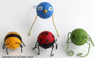 garden buggies recycled golf ball craft, crafts, repurposing upcycling, Go buggie with these cute critters