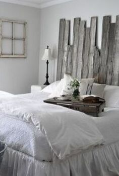 reclaimed wooden headboard, home decor, woodworking projects, White bedding Silver Drop paint by BEHR with the reclaimed headboard creates a romantic farmhouse bedroom
