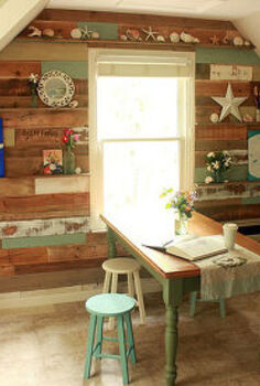 scrap and pallet wood wall in our art amp craft room, craft rooms, home decor, shelving ideas, Full Wall view