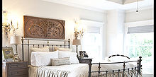 get the farmhouse french look, bedroom ideas, home decor, Homemade Linen bedding in soothing neutral sets the tone for the room