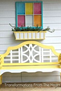 revamping a backyard deck the diy style to add color and charm for a cozy and, decks, gardening, outdoor furniture, painted furniture, Teak wood bench planter box and window frame make it a trio of color