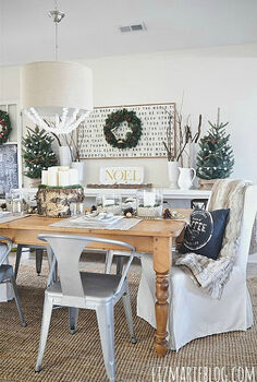 natural neutral christmas dining room, christmas decorations, seasonal holiday decor, We created a rustic dining room with cozy elements lots of DIY projects