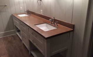 custom concrete countertops sinks more, bathroom ideas, concrete masonry, concrete countertops, countertops, home decor, Custom concrete vanity backsplash by Burco Surface Decor LLC