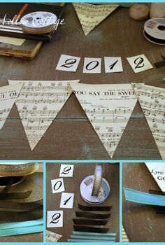 new year s eve banner bunting, crafts, seasonal holiday decor, You could easily adjust the color story to fit your decor by changing out the ribbon color