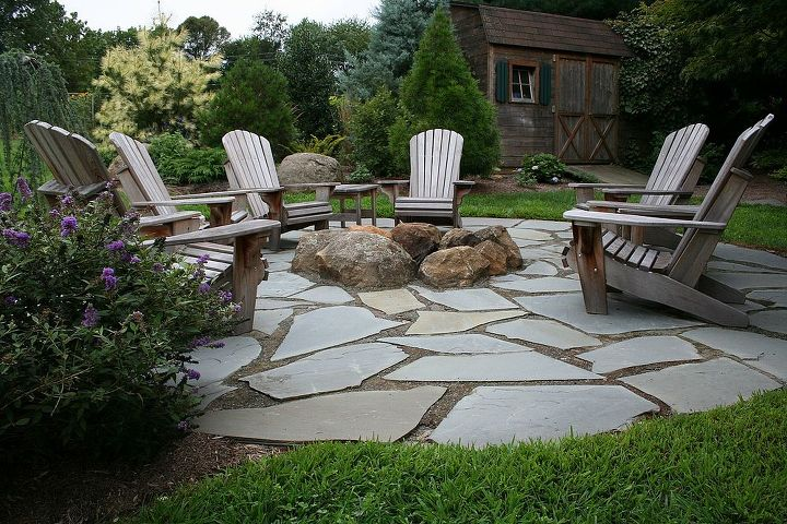 natural flagstone patio amp fire pit, outdoor living, patio, Flagstone Patio  with Fire - Natural Flagstone Patio & Fire Pit Hometalk