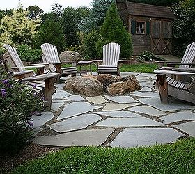 Beautiful Natural Flagstone Patio Amp Fire Pit, Outdoor Living, Patio, Flagstone Patio  With Fire