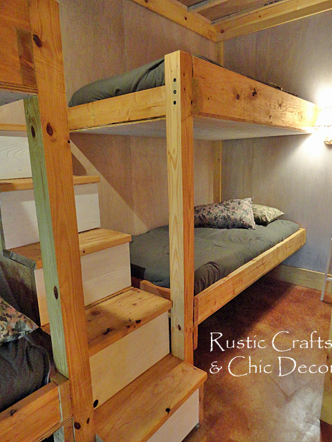 diy double bunk bed design, bedroom ideas, painted furniture, rustic  furniture, stairs - DIY Double Bunk Bed Design Hometalk