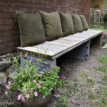 recycled garage door, decks, doors, garage doors, garages, outdoor furniture, painted furniture, repurposing upcycling, finished but will probably change the pillows to outdoor fabric
