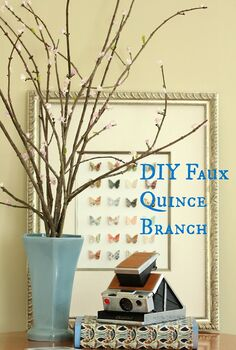 diy faux quince branches, crafts, Using branches from my yard and a faux floral spray I was able to make a more natural looking grouping