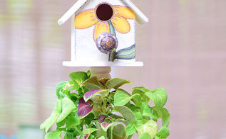 tree trunk birdhouse planter, crafts, gardening