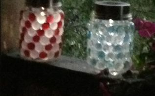 i took several projects combined them into one i glued glass gems t, crafts, mason jars, In late afternoon