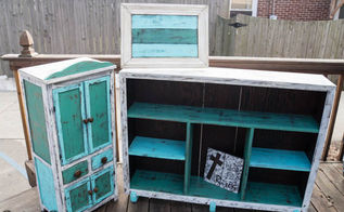 shabby chic antique cabinet and shelf, painted furniture, repurposing upcycling, shabby chic, shelving ideas