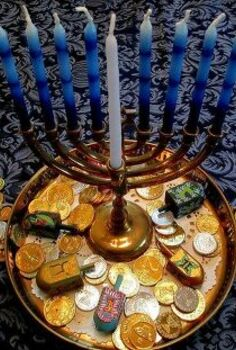 happy chanukah, fireplaces mantels, seasonal holiday d cor, Chanukah gelt and menorah on our holiday table