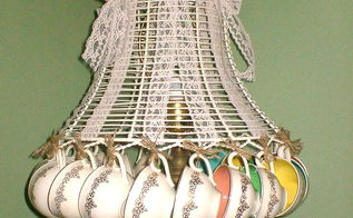 repurposed vintage teacup lampshade, home decor, repurposing upcycling
