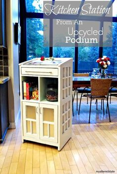 kitchen station refinished podium, kitchen design, painted furniture, repurposing upcycling