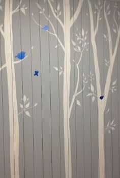 room makeover for our oldest daughter, bedroom ideas, flooring, home decor, Here is the finished feature wall with the bright blue birds and butterflies just to add some fun