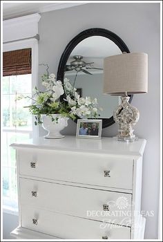 beach bedroom makeover, bedroom ideas, home decor, I painted my dresser white and added some beach themed accessories