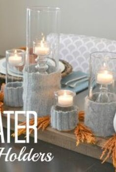 sweater candle holders for a modern fall centerpiece, crafts, seasonal holiday decor