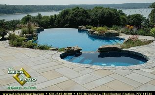 patios patios patios, concrete masonry, decks, outdoor living, patio, pool designs, Bluestone patio with vanishing edge pool