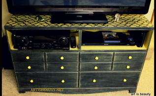 old trashed dresser turned into an entertainment center, painted furniture, finished entertainment center made from old dresser