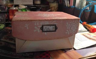 make up box, crafts, Antiqued the edges w dark wax followed by scrapbook paper mod podged on it Added metal tag