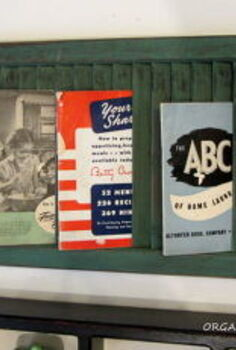 kitchen wall display, home decor, kitchen design, repurposing upcycling, Old shutter with vintage booklets