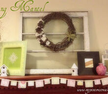 spring mantel reveal, home decor, I love how soft the colors are yet I ll be able to swap out the bunting for summer