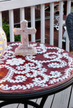 diy inlay table, outdoor furniture, painted furniture, DIY Inlay Table