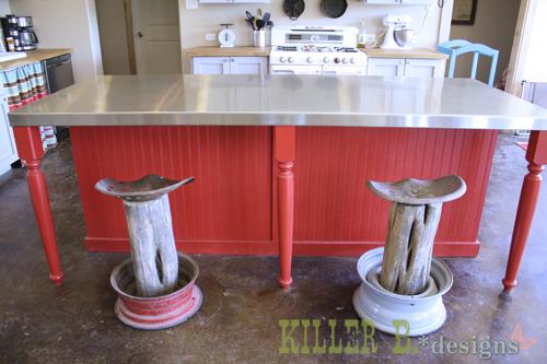 Homemade Tractor Seat Bar Stools : Rustic tractor seat bar stools hometalk