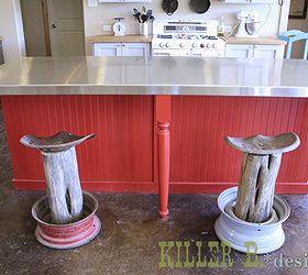rustic tractor seat bar stools diy outdoor furniture painted furniture repurposing upcycling