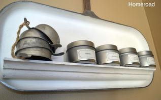 aluminum griddle turned spice shelf, repurposing upcycling, shelving ideas