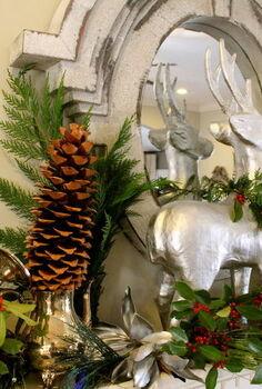 christmas mantel 2012, christmas decorations, seasonal holiday decor, Holly Evergreen Sugar Pinecones