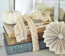 simple fall decorating with baby boo pumpkins, seasonal holiday d cor, Tie vintage books up with old lace and crown the stack with a Baby Boo pumpkin