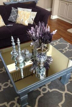 i can t stop looking at my mirrored furniture, painted furniture, Nikki made Mirrored Table